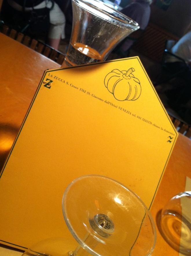 La Zucca menu