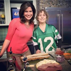 with Holly Thompson. I'm wearing my Joe Namath jersey!