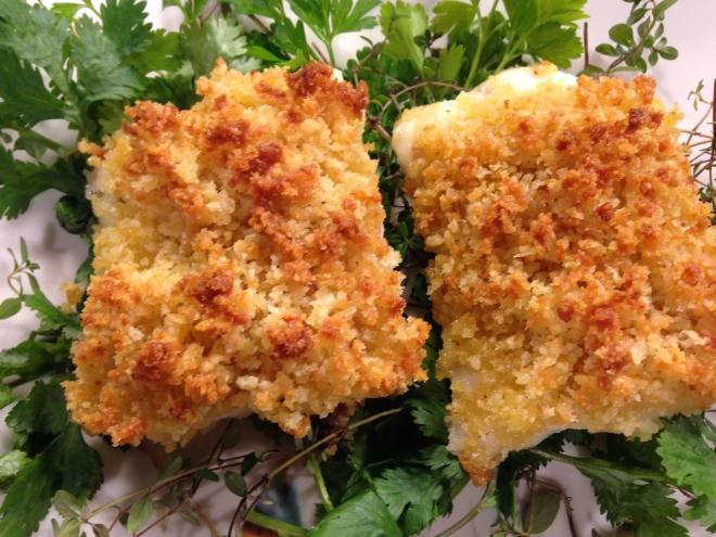 Cod w Parmigiano Crumbs