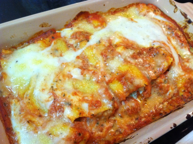 cannelloni stuffed with shrimp & spinach