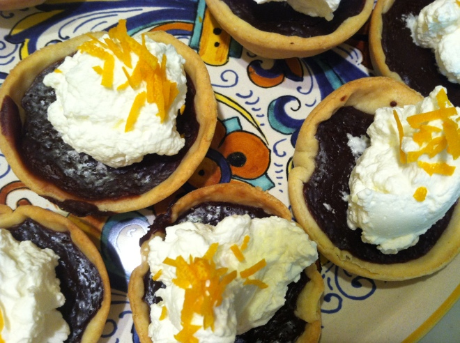 Chocolate Tarts w Whipped Cream