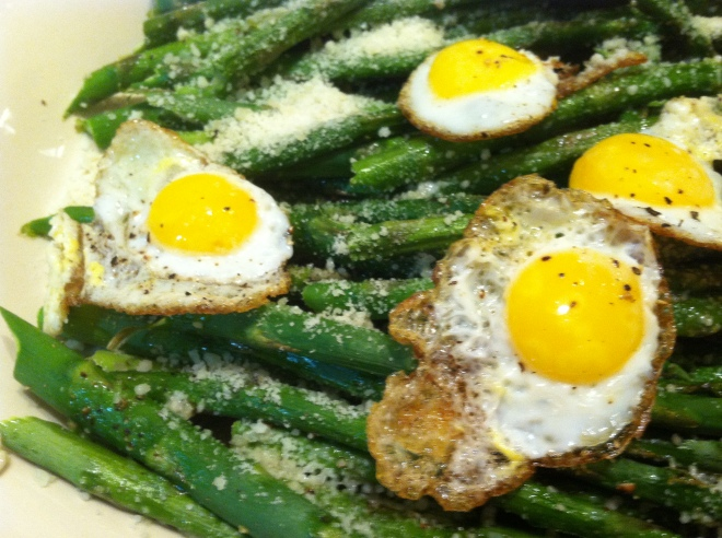 roasted asparagus with sunny side up quail eggs