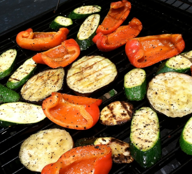 grilling zucchini, eggplant, peppers