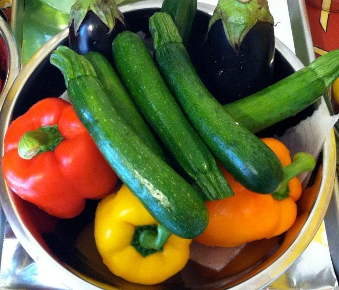 Zucchini, Eggplant, Peppers