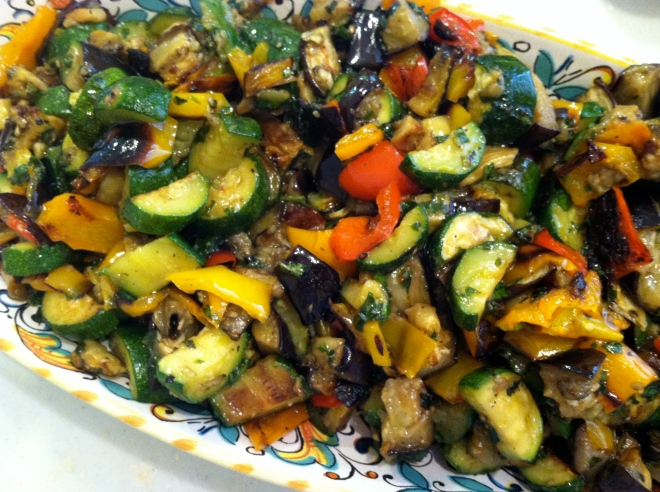 Roasted zucchini, eggplant, pappers