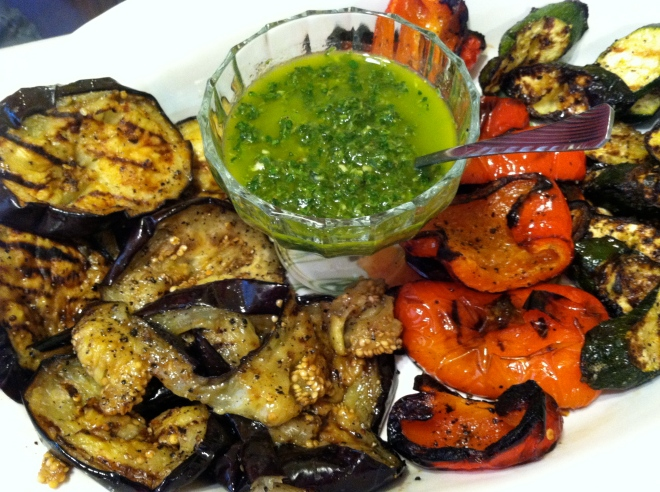 grilled zucchini, eggplant, peppers w pesto