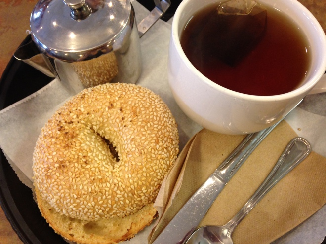 City Limits Bagel w some Hot Tea