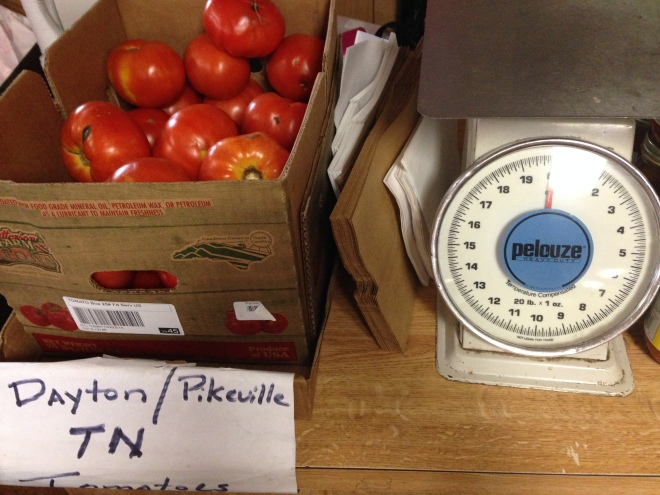 Local tomatoes by the pound
