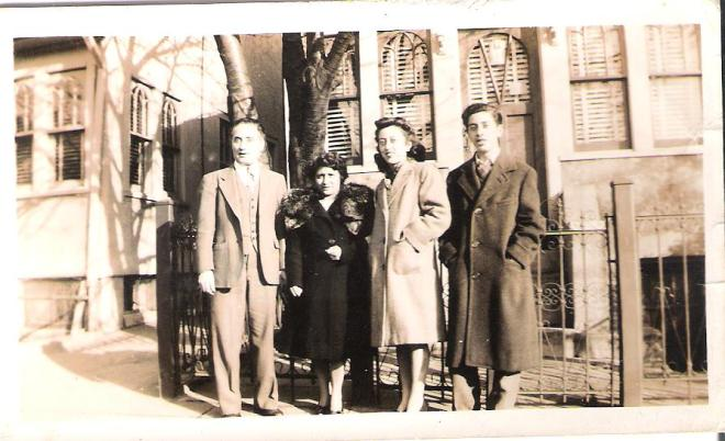 My Dad with his father from Sicily, his stepmother from Sicily, and his sister Vera