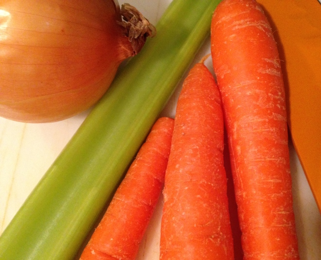 carrots, celery, onion