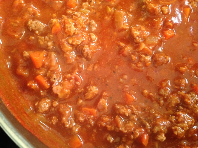 cooked Bolognese sauce