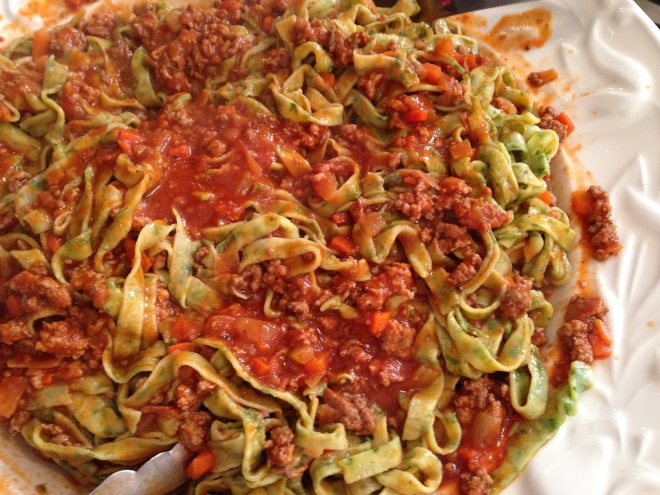 Spinach Fettuccine w Classic Bolognese Sauce