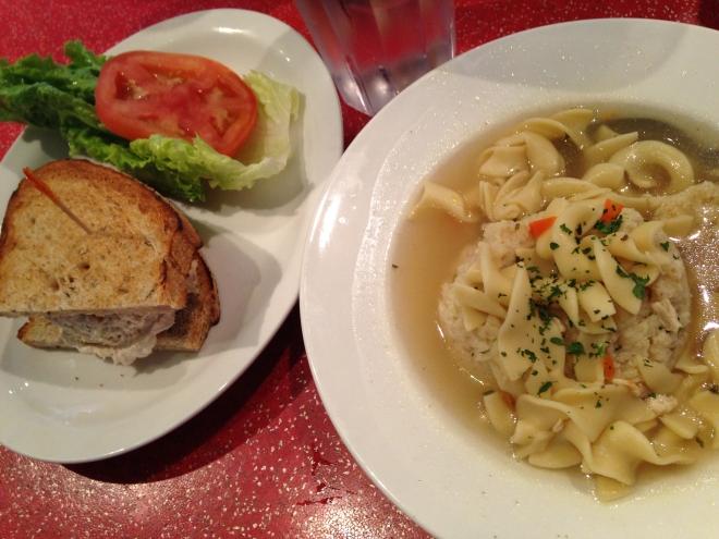 matzoh ball soup w tuna sandwich