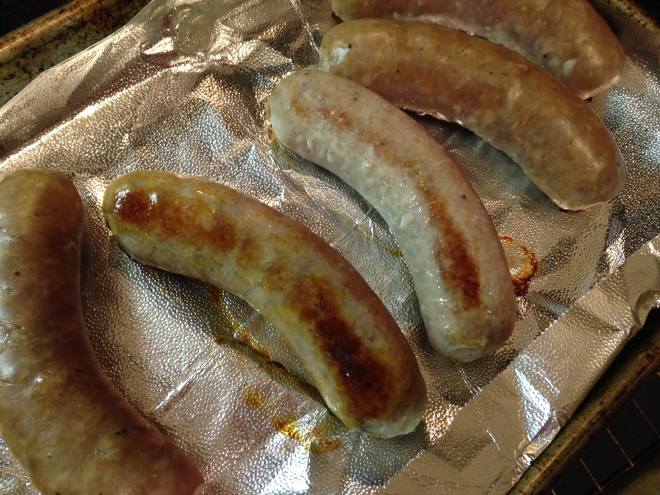 Sausages half-way browned