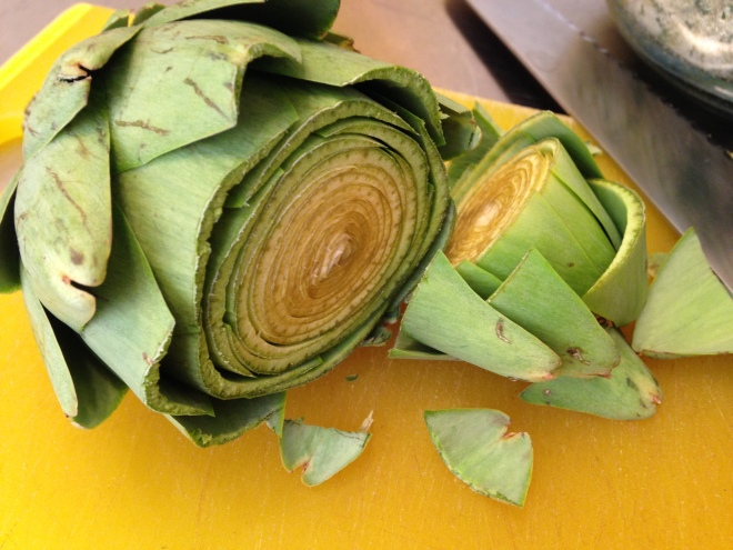 cut off the top of the artichoke