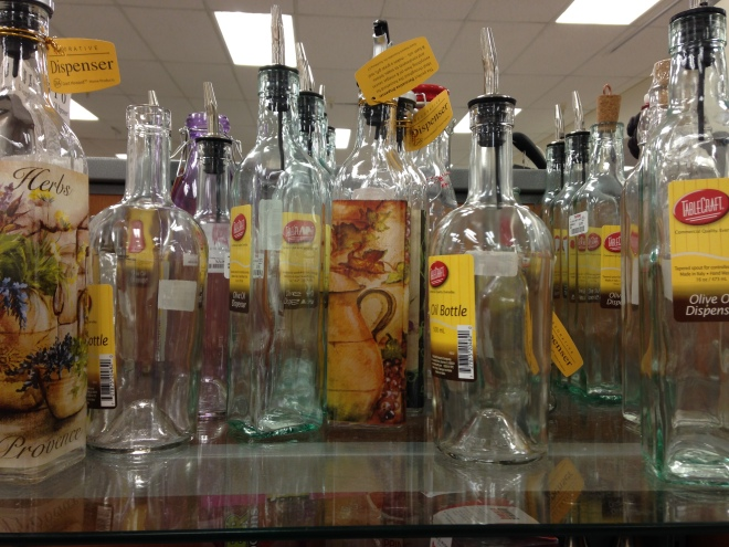 olive oil bottles at TJ Maxx