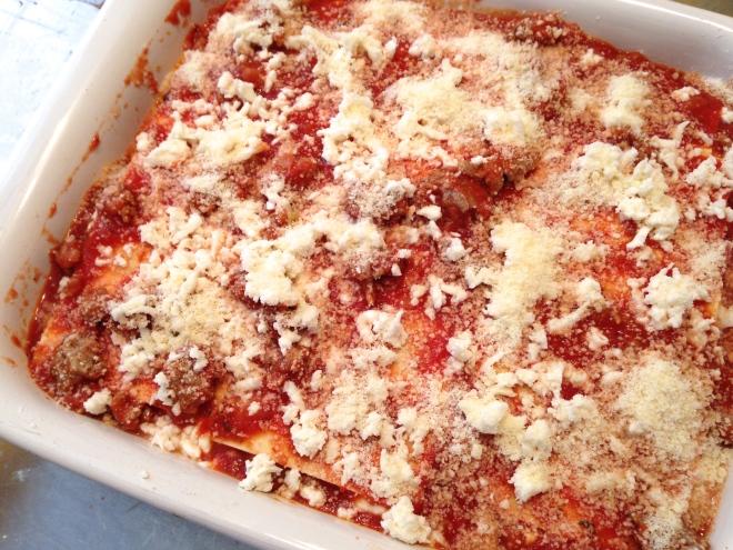 Lasagna all prepared and ready to bake