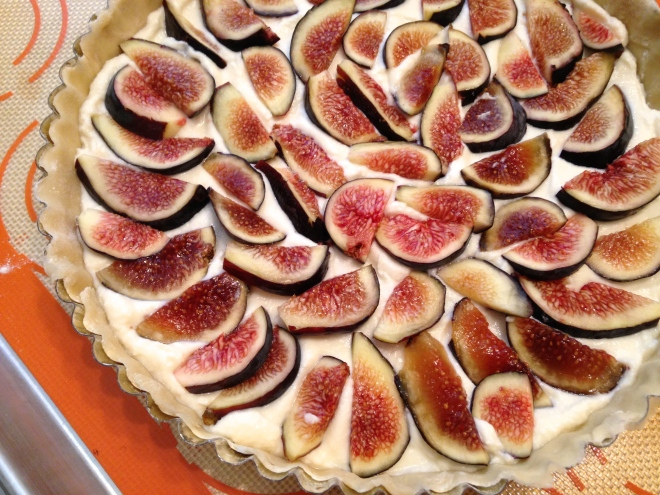 figs placed in ricotta