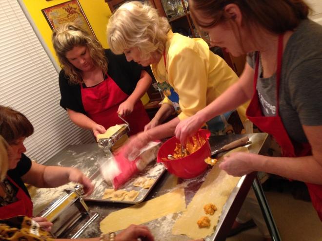 butternut squash ravioli-making