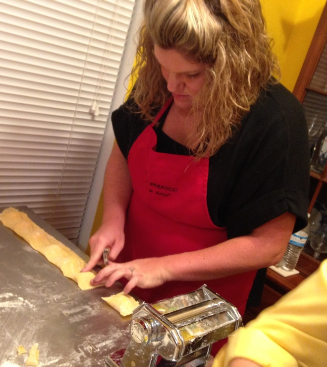 butternut squash ravioli-making