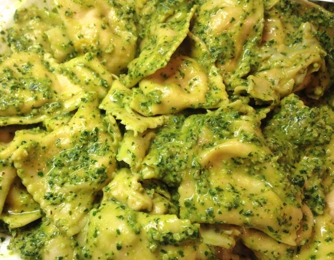 butternut squash ravioli with parsley-mint-walnut pesto
