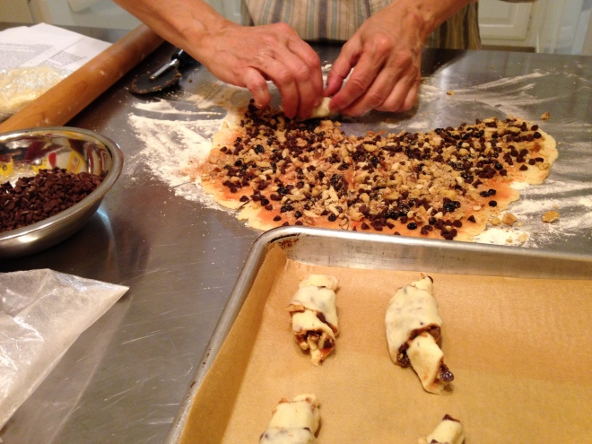 rolling up the rugelach