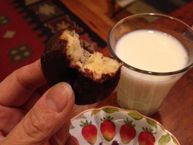 mini chocolate donut with milk