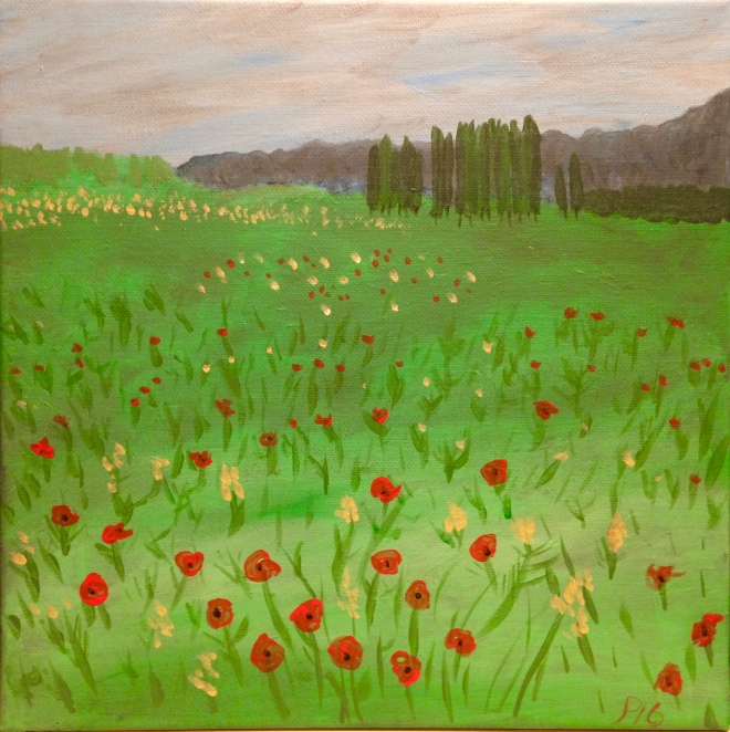 "Tuscan Poppy Field 9"" x 12"" acrylic on canvas"