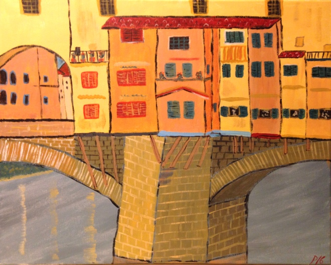 "Ponte Vecchio 16"" x 20"" acrylic on canvas"