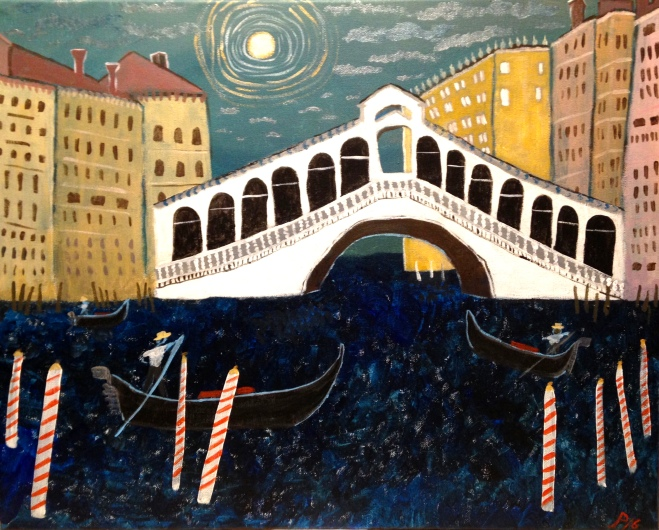 "Rialto Bridge 16"" x 20"" acrylic on canvas"
