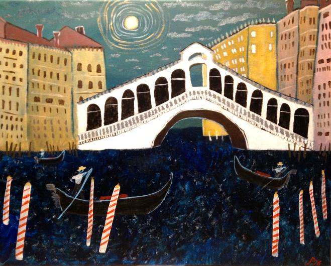 "Rialto Bridge 16"" x 20"" acrylic on canvas"