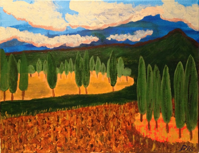 "Cypress Trees 9"" x 12"" acrylic on canvas"