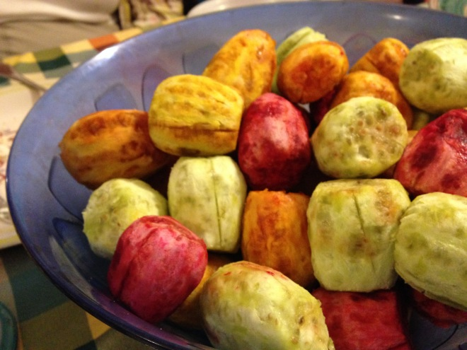 peeled prickly pears at one of our dinners -- in Giovanni and Agata's home