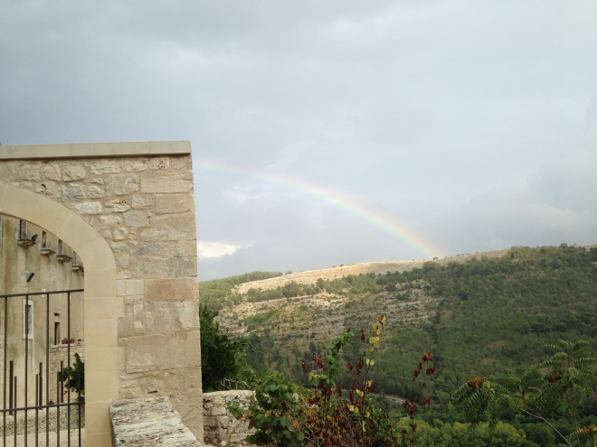 rainbow at hotel in Ragusa Ibla