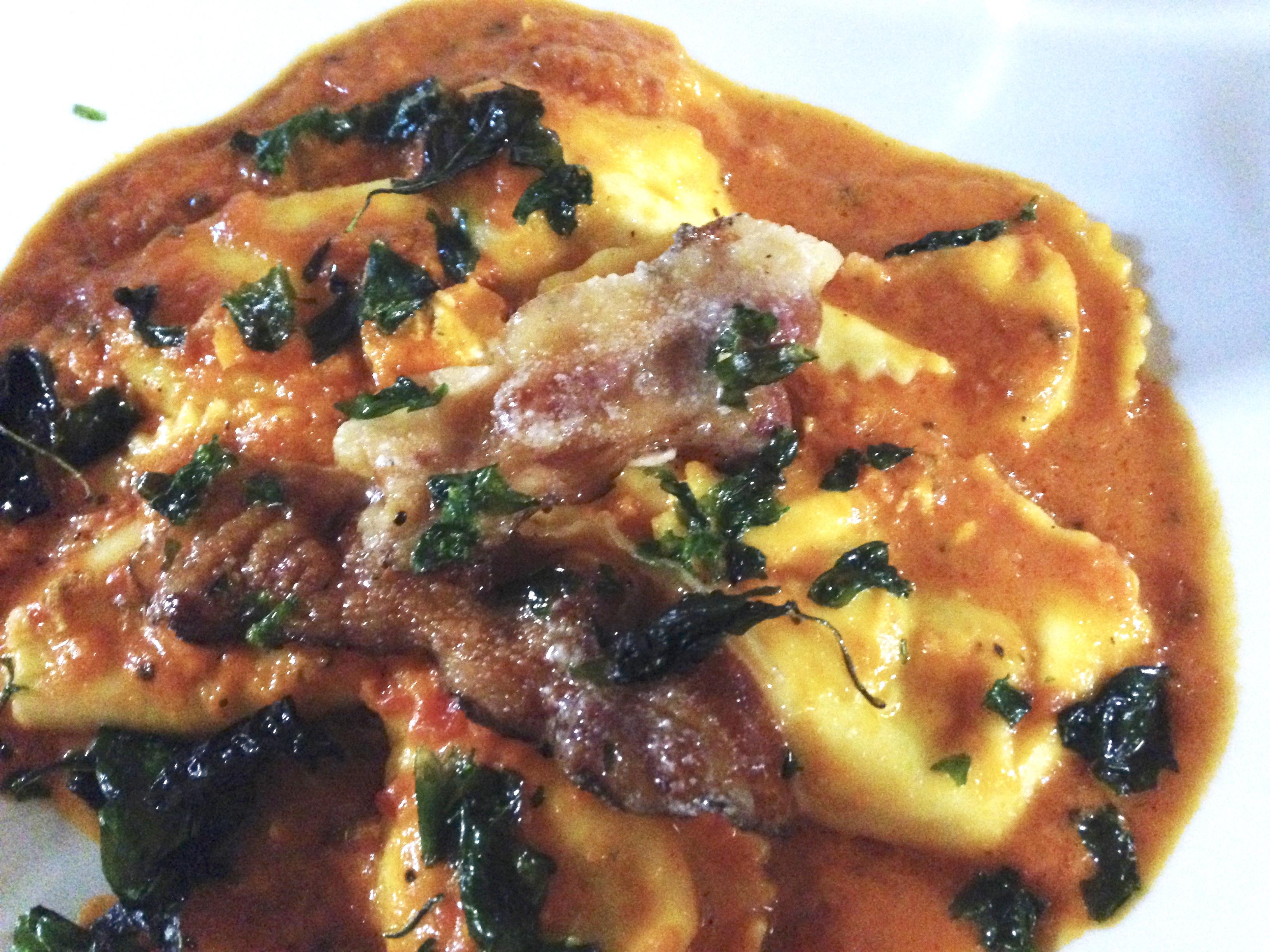ravioli w crispy pancetta